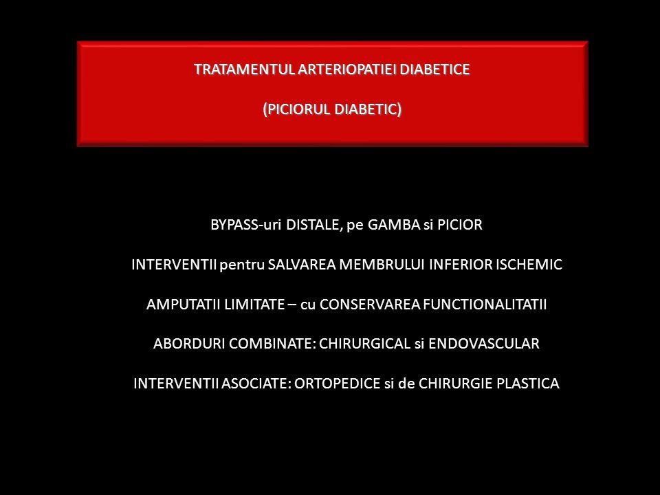 TRATAMENTUL ARTERIOPATIEI DIABETICE (PICIORUL DIABETIC) BYPASS-uri DISTALE, pe GAMBA si PICIOR INTERVENTII pentru SALVAREA MEMBRULUI INFERIOR ISCHEMIC AMPUTATII LIMITATE – cu CONSERVAREA FUNCTIONALITATII ABORDURI COMBINATE: CHIRURGICAL si ENDOVASCULAR INTERVENTII ASOCIATE: ORTOPEDICE si de CHIRURGIE PLASTICA
