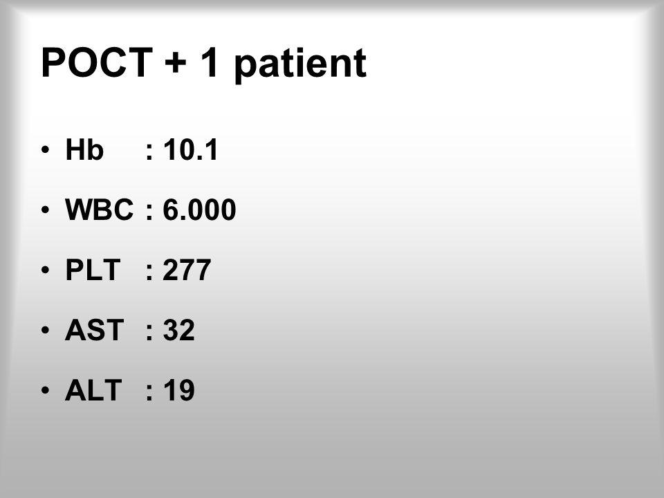 POCT + 1 patient Hb: 10.1 WBC: 6.000 PLT: 277 AST: 32 ALT: 19
