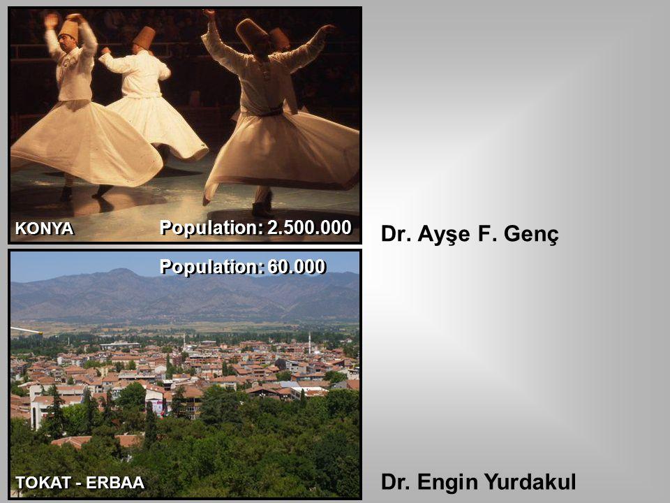 Dr. Ayşe F. Genç KONYA TOKAT - ERBAA Dr. Engin Yurdakul Population: 60.000 Population: 2.500.000