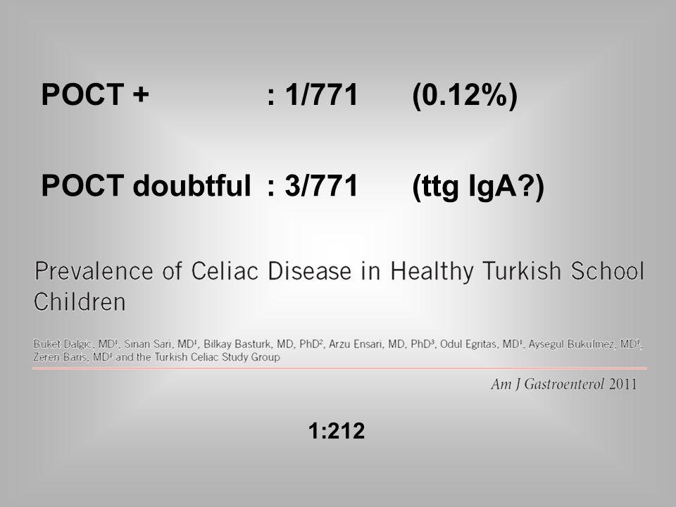 POCT +: 1/771 (0.12%) POCT doubtful : 3/771(ttg IgA ) 1:212