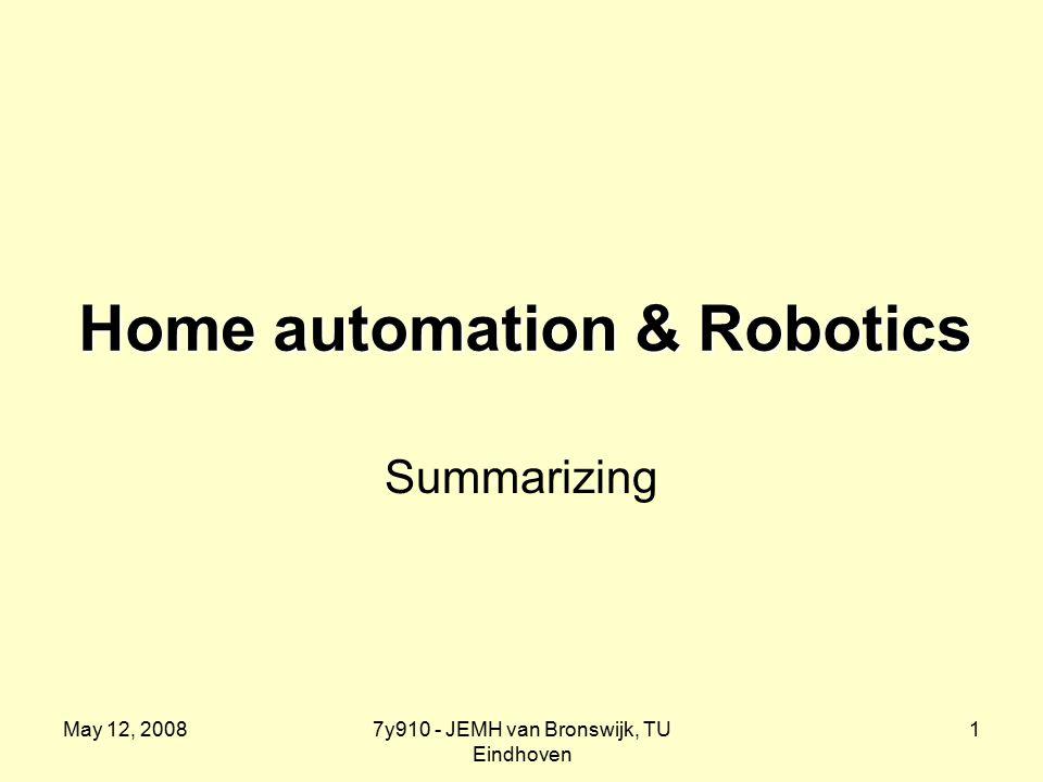 May 12, 20087y910 - JEMH van Bronswijk, TU Eindhoven 1 Home automation & Robotics Summarizing