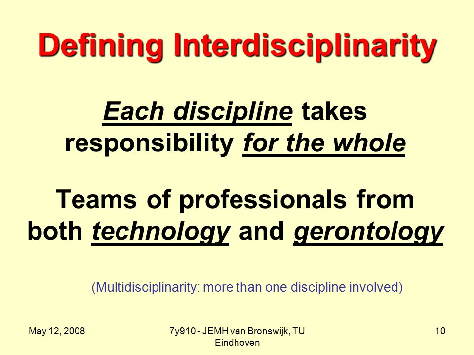 May 12, 20087y910 - JEMH van Bronswijk, TU Eindhoven 10 Defining Interdisciplinarity Each discipline takes responsibility for the whole Teams of professionals from both technology and gerontology (Multidisciplinarity: more than one discipline involved)