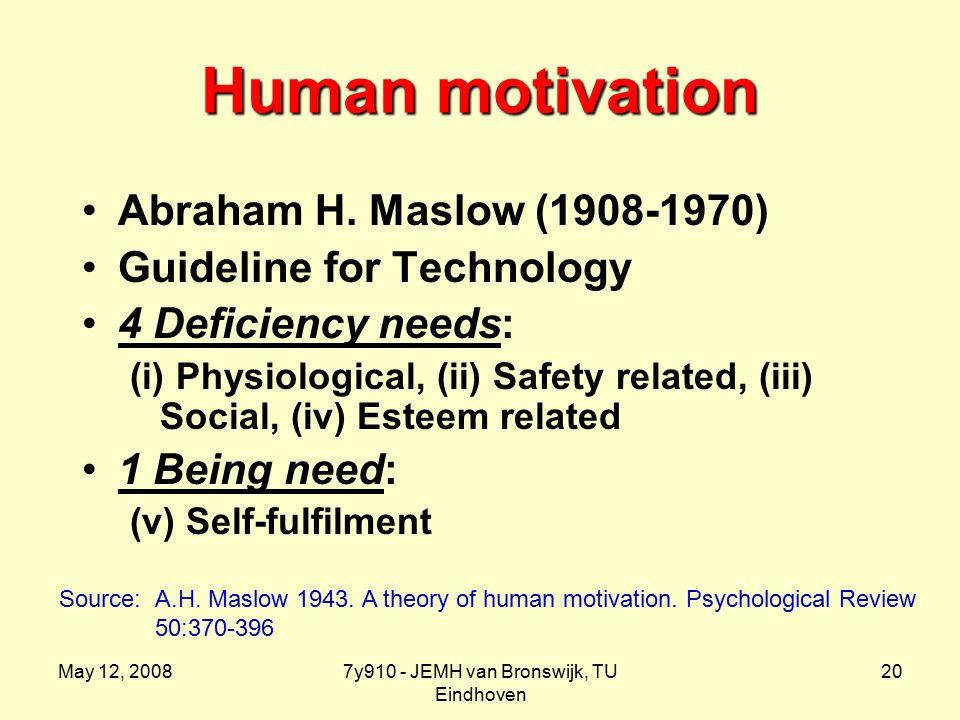 May 12, 20087y910 - JEMH van Bronswijk, TU Eindhoven 20 Human motivation Abraham H.