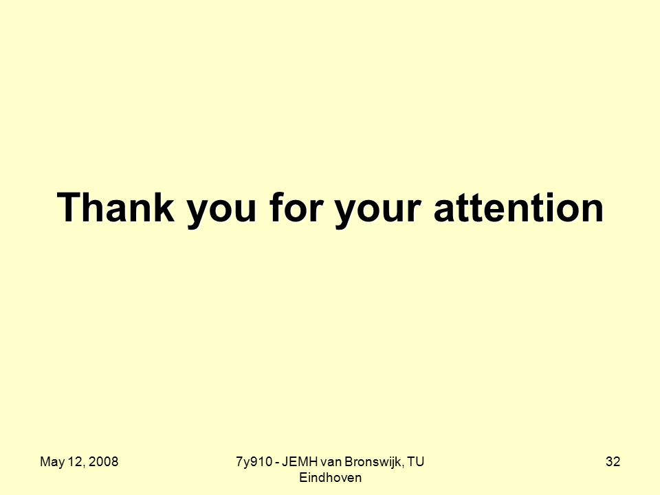 May 12, 20087y910 - JEMH van Bronswijk, TU Eindhoven 32 Thank you for your attention