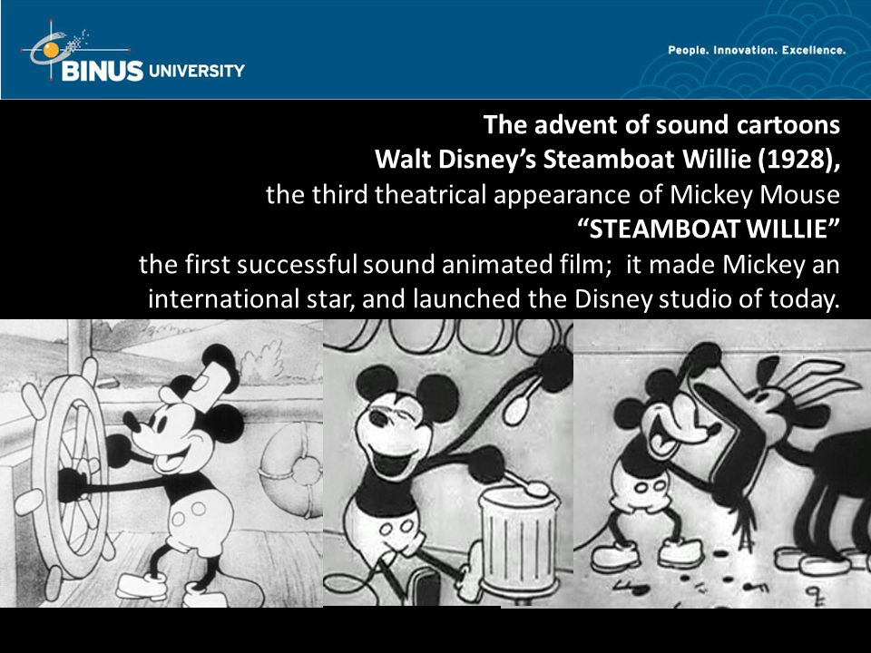 Bina Nusantara The advent of sound cartoons In 1937, Walt Disney produced Snow White the first American feature-length animated movie