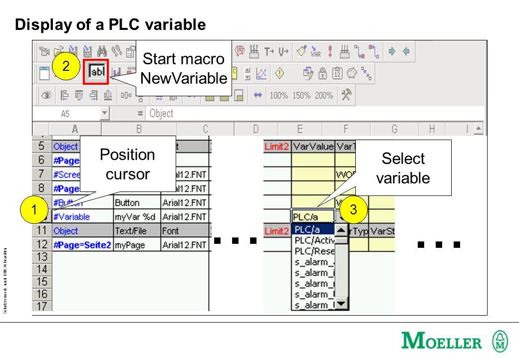 Schutzvermerk nach DIN 34 beachten Display of a PLC variable 2... 3 Position cursor 1 Start macro NewVariable Select variable