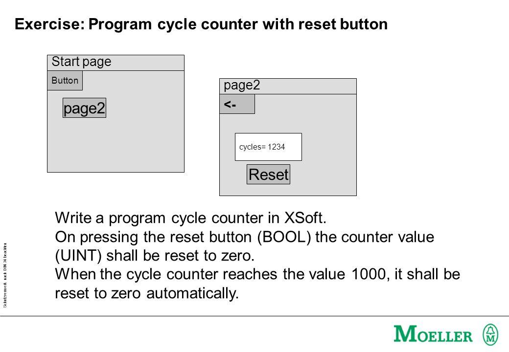 Schutzvermerk nach DIN 34 beachten Exercise: Program cycle counter with reset button Write a program cycle counter in XSoft. On pressing the reset but
