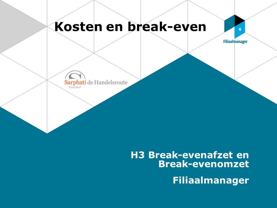 Kosten en break-even H3 Break-evenafzet en Break-evenomzet Filiaalmanager
