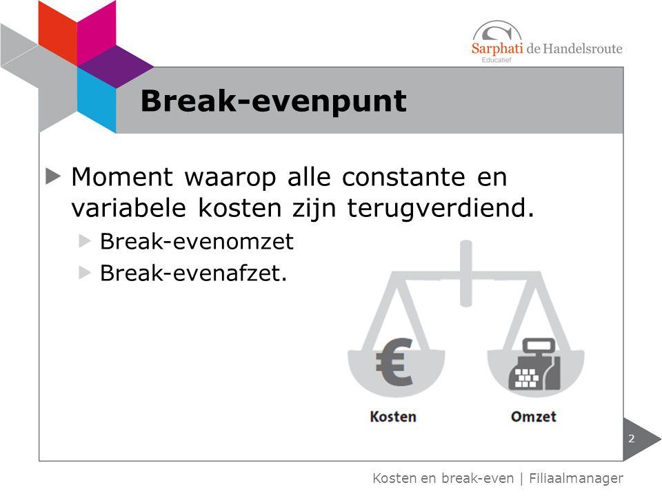 Moment waarop alle constante en variabele kosten zijn terugverdiend. Break-evenomzet Break-evenafzet. Kosten en break-even | Filiaalmanager Break-even
