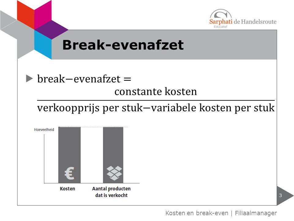 Kosten en break-even | Filiaalmanager Break-evenafzet 3