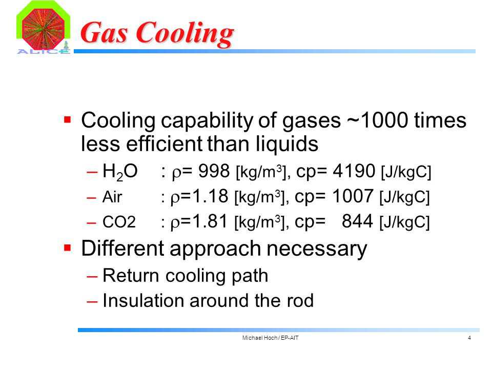 Michael Hoch / EP-AIT4 Gas Cooling  Cooling capability of gases ~1000 times less efficient than liquids ‒H 2 O:  = 998 [kg/m 3 ], cp= 4190 [J/kgC] ‒Air:  =1.18 [kg/m 3 ], cp= 1007 [J/kgC] ‒CO2:  =1.81 [kg/m 3 ], cp= 844 [J/kgC]  Different approach necessary ‒Return cooling path ‒Insulation around the rod