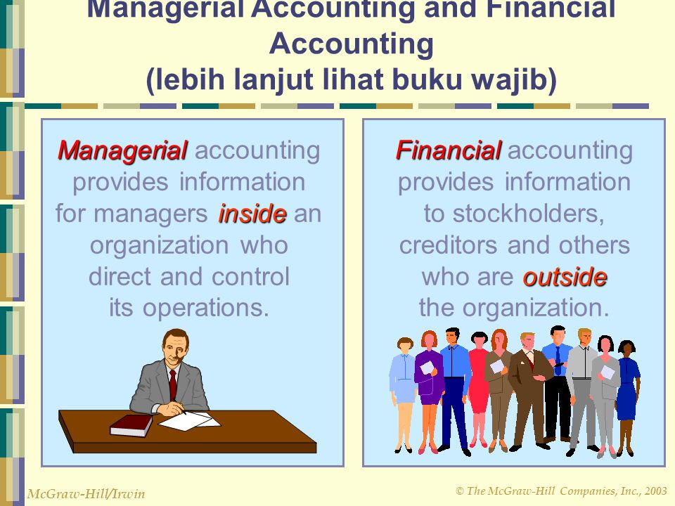 © The McGraw-Hill Companies, Inc., 2003 McGraw-Hill/Irwin Managerial Accounting and Financial Accounting (lebih lanjut lihat buku wajib) Managerial in