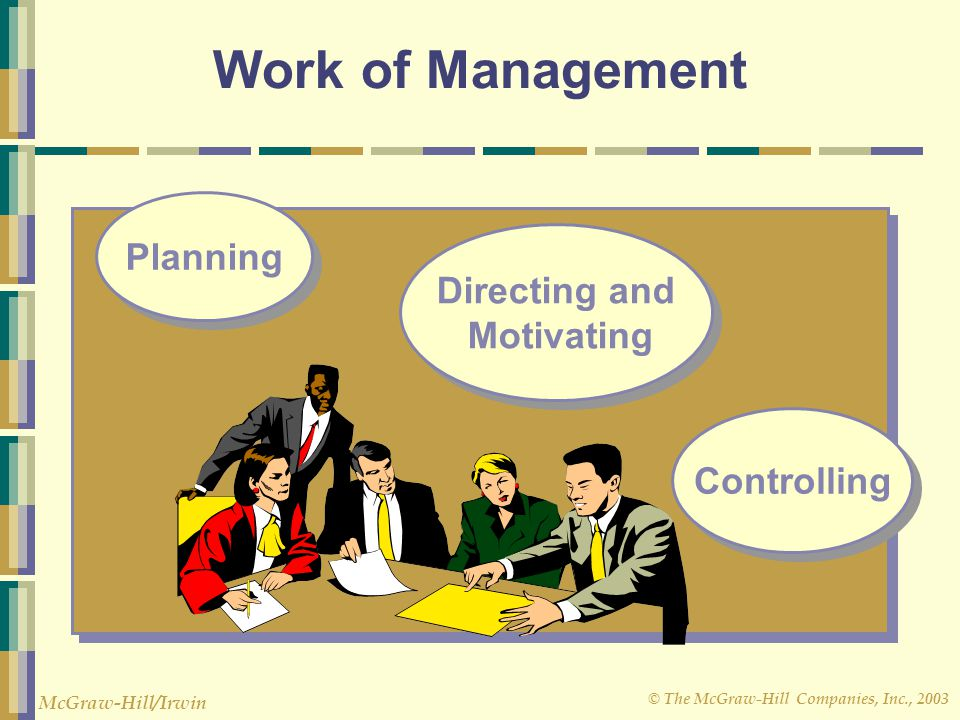 © The McGraw-Hill Companies, Inc., 2003 McGraw-Hill/Irwin Work of Management Planning Controlling Directing and Motivating