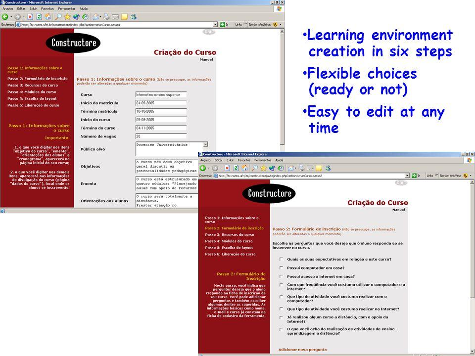 Resultados: Ferramentas Constructore e Bvneuro: modelo conceitual e estrutura DsdddddddddddDsddddddddddd Learning environment creation in six steps Flexible choices (ready or not) Easy to edit at any time