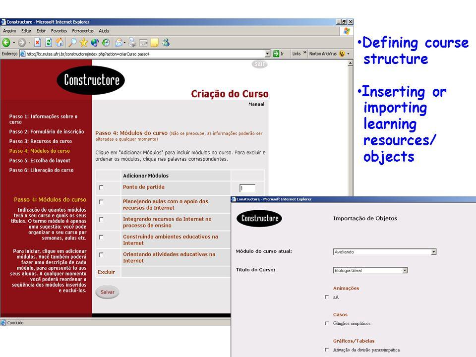 Resultados: Ferramentas Constructore e Bvneuro: modelo conceitual e estrutura DsdddddddddddDsddddddddddd Defining course structure Inserting or importing learning resources/ objects