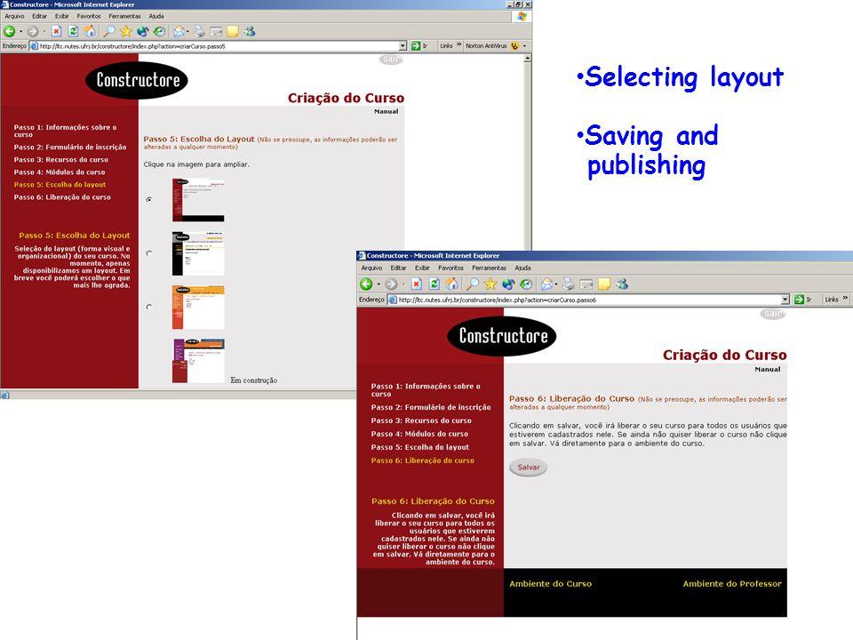 Resultados: Ferramentas Constructore e Bvneuro: modelo conceitual e estrutura DsdddddddddddDsddddddddddd Selecting layout Saving and publishing