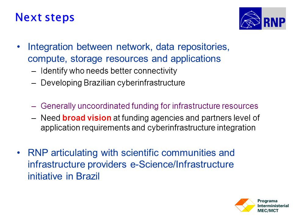 Next steps Integration between network, data repositories, compute, storage resources and applications –Identify who needs better connectivity –Develo