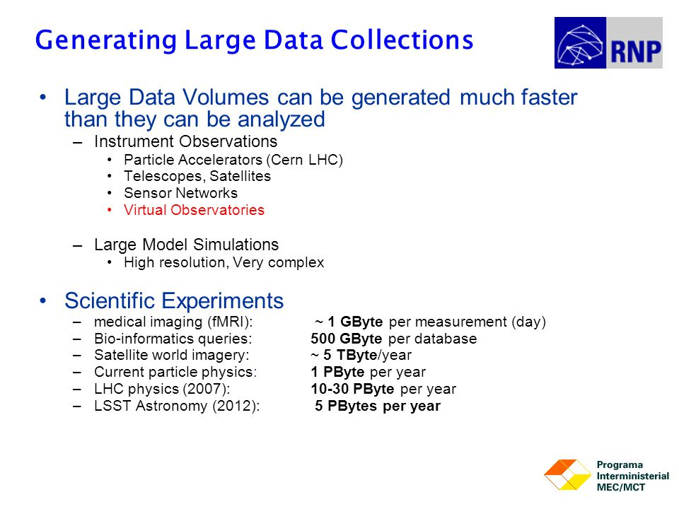 Generating Large Data Collections Large Data Volumes can be generated much faster than they can be analyzed –Instrument Observations Particle Accelera
