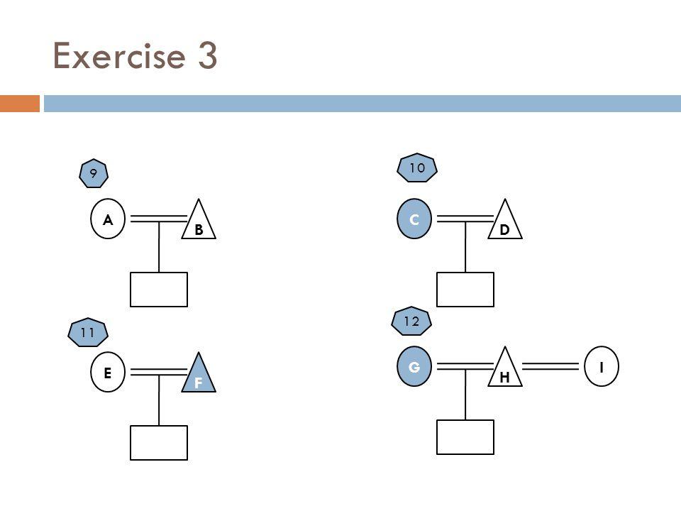 Exercise 3 A B G H C D E F 10 9 12 11 I