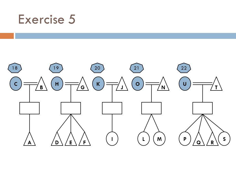 Exercise 5 C B A H G E K J O N U T Q I FD LMPS R 1819202122