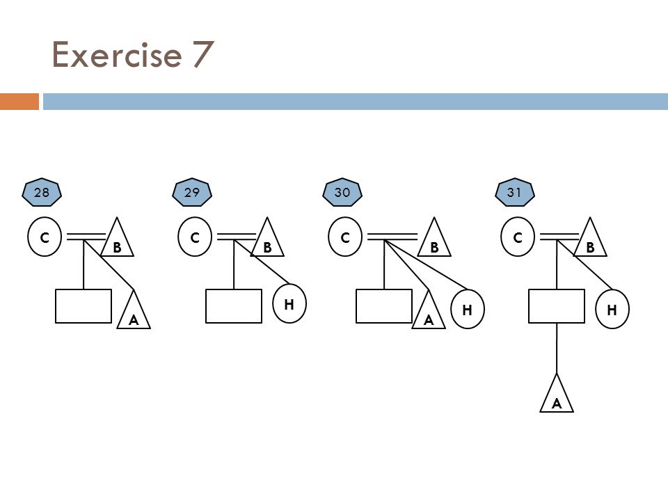 Exercise 7 C B A H 28 C B H 29 C B A 30 C B A 31 H