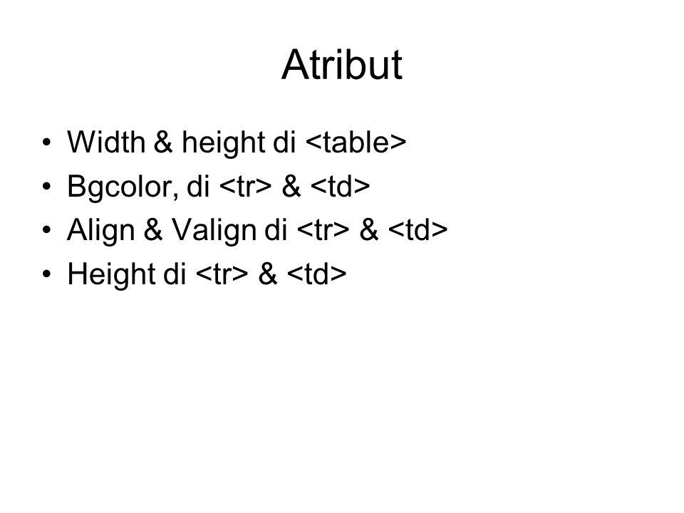 Atribut Width & height di Bgcolor, di & Align & Valign di & Height di &