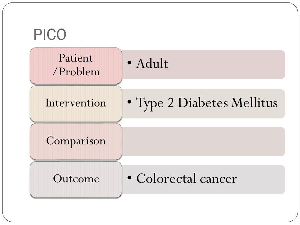 PICO Adult Patient /Problem Type 2 Diabetes Mellitus InterventionComparison Colorectal cancer Outcome