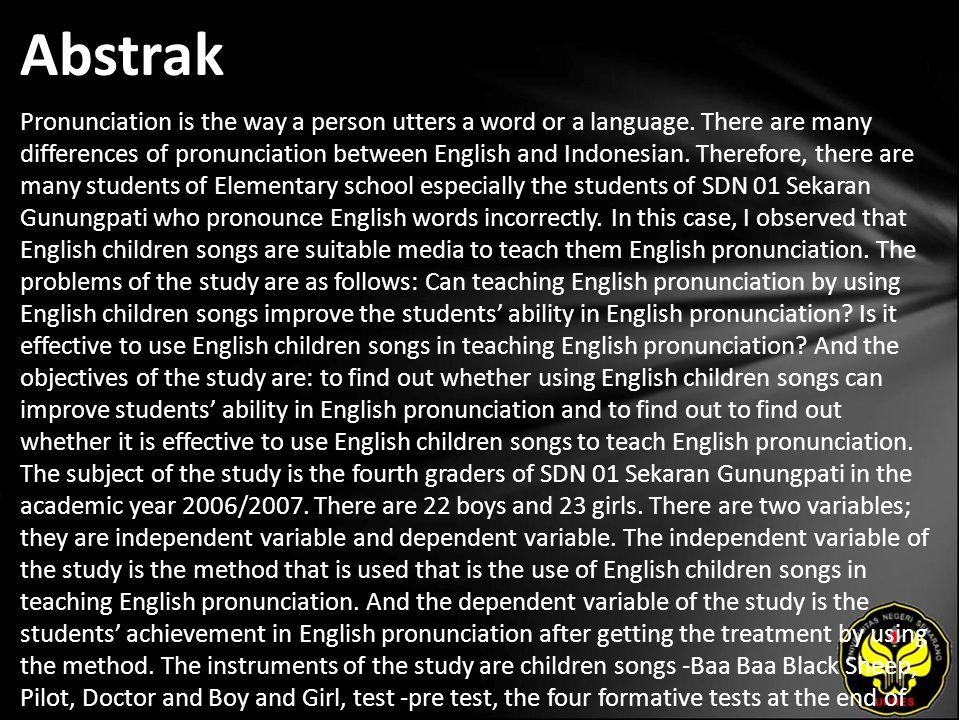 Kata Kunci Children Songs, English Pronunciation.