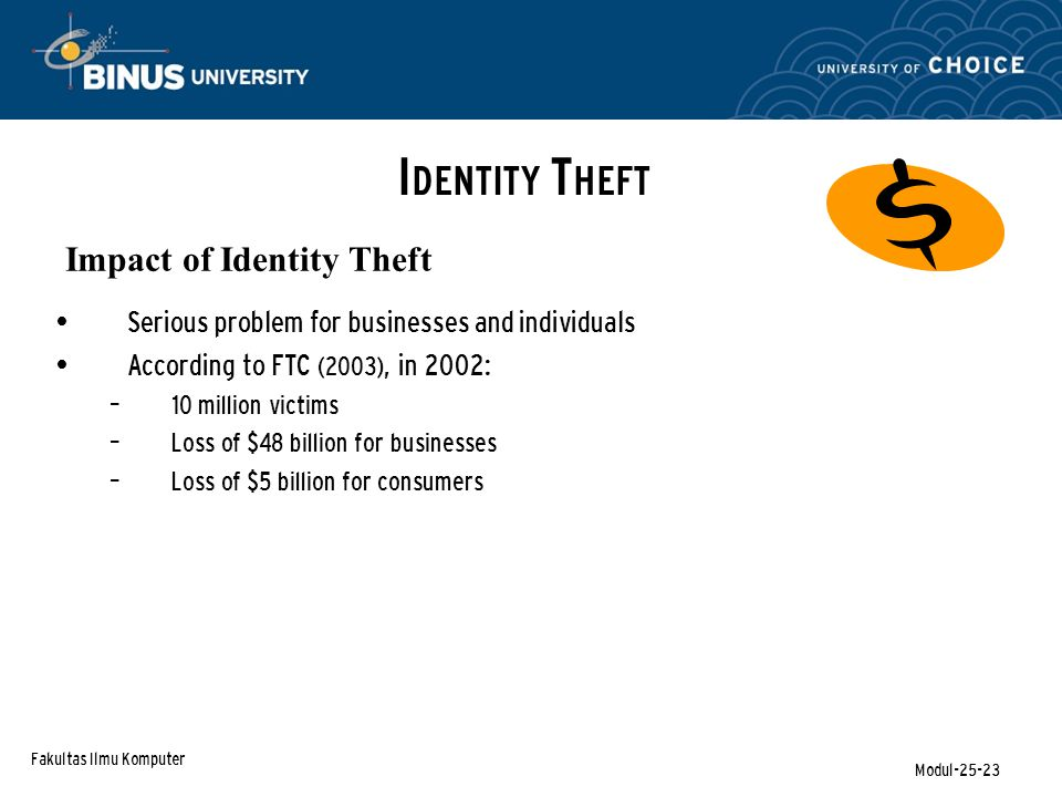 Fakultas Ilmu Komputer Modul-25-23 I DENTITY T HEFT Impact of Identity Theft Serious problem for businesses and individuals According to FTC (2003), in 2002: – 10 million victims – Loss of $48 billion for businesses – Loss of $5 billion for consumers
