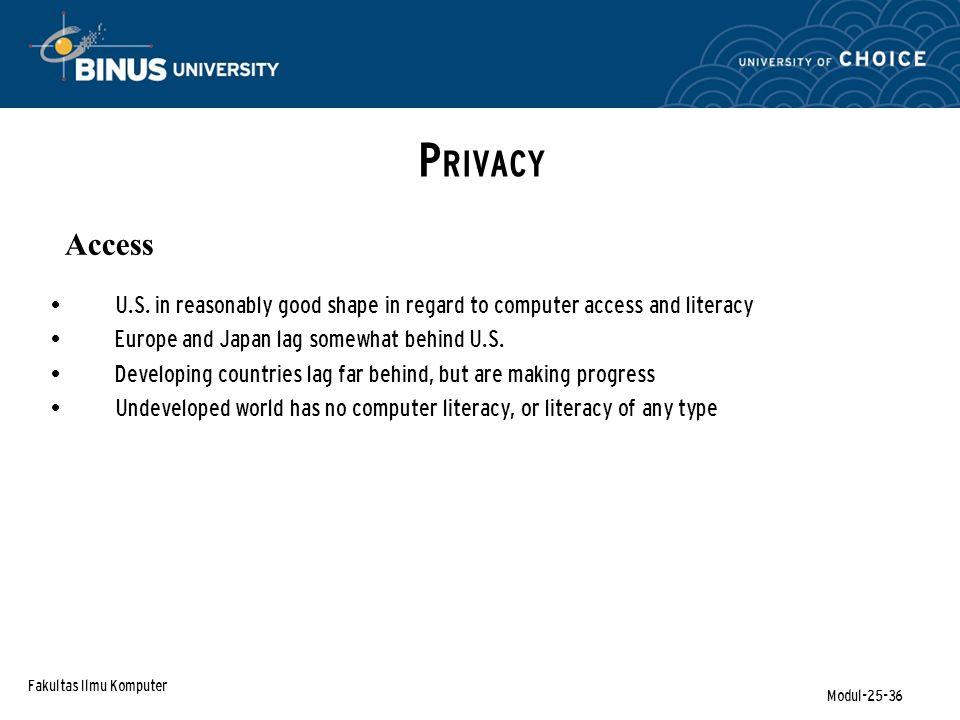 Fakultas Ilmu Komputer Modul-25-36 P RIVACY Access U.S.