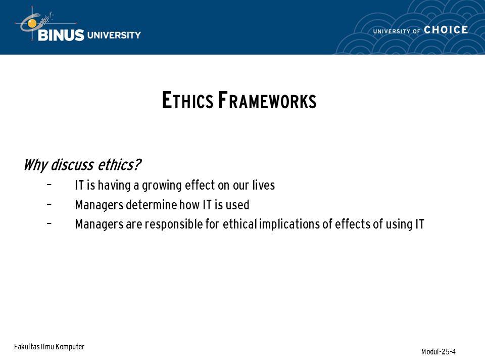Fakultas Ilmu Komputer Modul-25-4 Why discuss ethics.