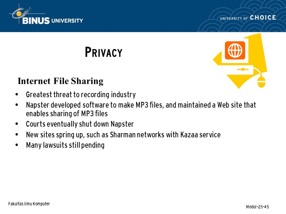 Fakultas Ilmu Komputer Modul-25-45 P RIVACY Internet File Sharing Greatest threat to recording industry Napster developed software to make MP3 files,