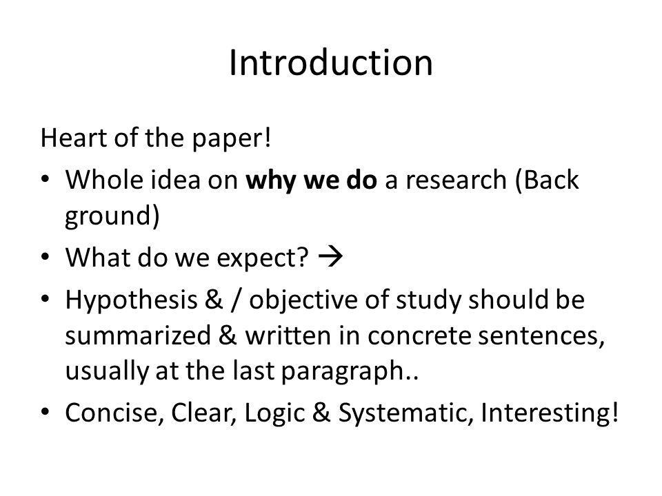 Introduction Heart of the paper.