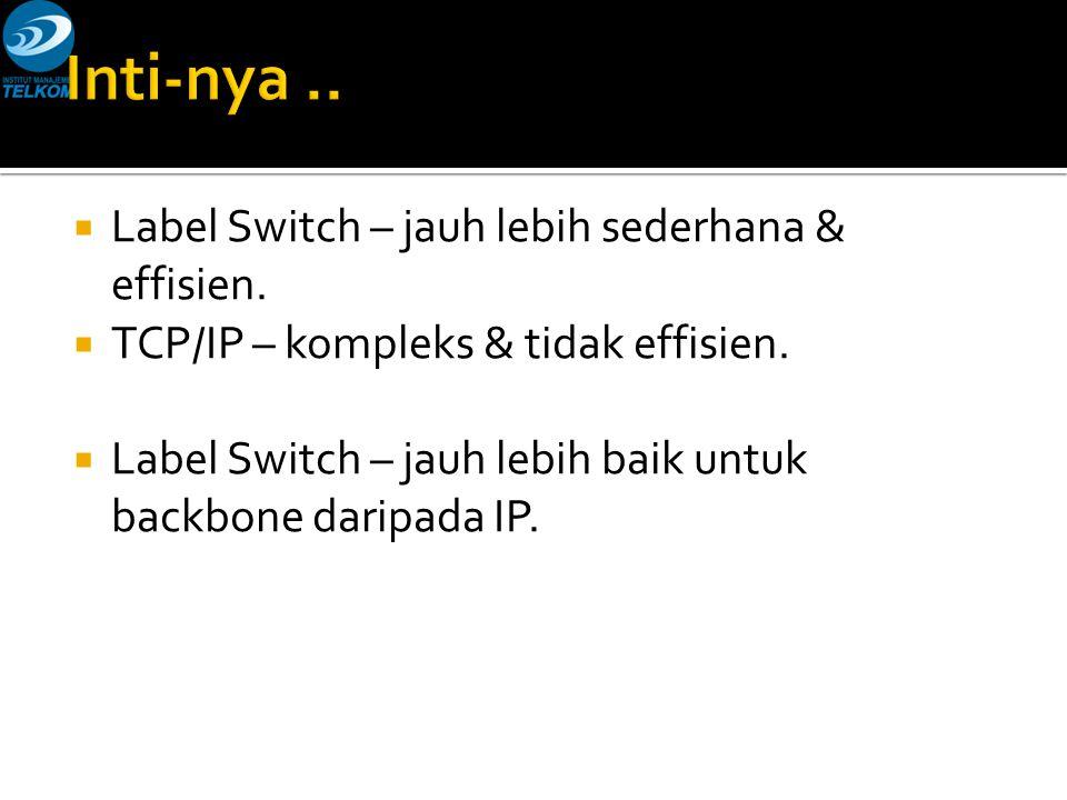  Label Switch – jauh lebih sederhana & effisien.  TCP/IP – kompleks & tidak effisien.