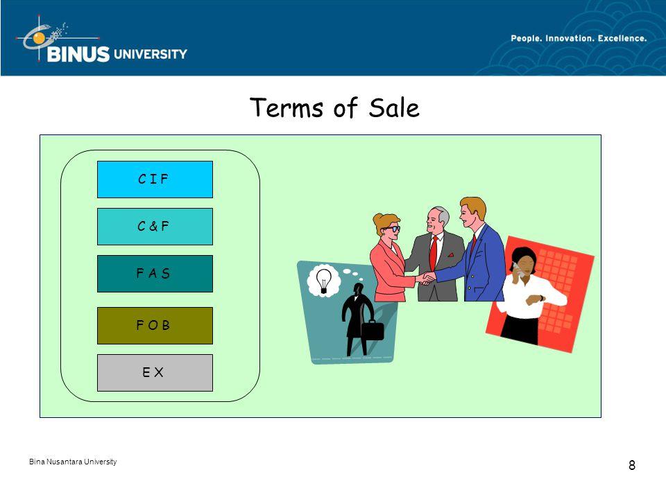 Bina Nusantara University 8 Terms of Sale C I F C & F F A S F O B E X