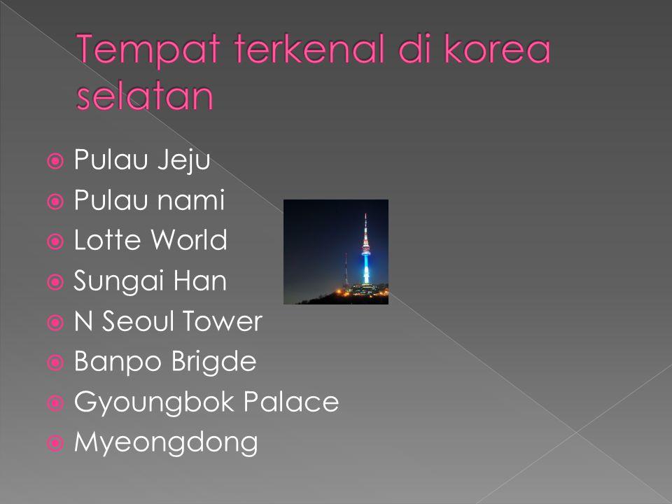  Pulau Jeju  Pulau nami  Lotte World  Sungai Han  N Seoul Tower  Banpo Brigde  Gyoungbok Palace  Myeongdong