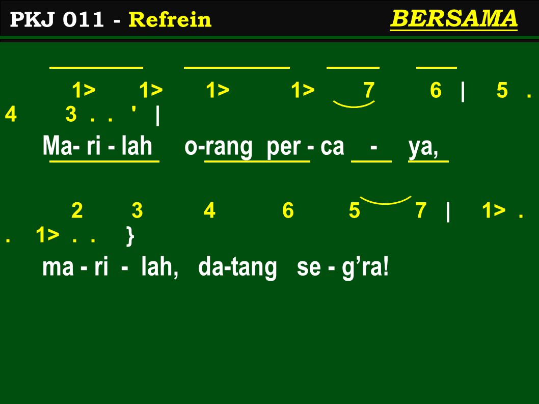 1> 1> 1> 1> 7 6 | 5. 4 3.. | Ma- ri - lah o-rang per - ca - ya, 2 3 4 6 5 7 | 1>..