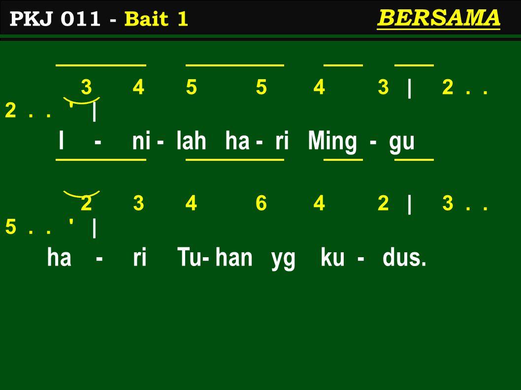 3 4 5 5 4 3 | 2..2.. | I - ni - lah ha - ri Ming - gu 2 3 4 6 4 2 | 3..