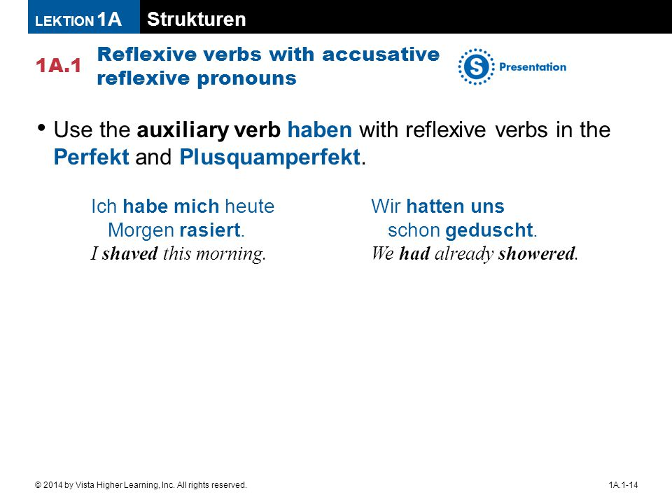 Strukturen 1A.1 LEKTION 1A 1A.1-14© 2014 by Vista Higher Learning, Inc. All rights reserved. Reflexive verbs with accusative reflexive pronouns Use th