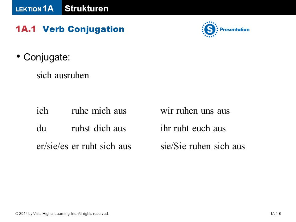 Strukturen 1A.1 LEKTION 1A 1A.1-6© 2014 by Vista Higher Learning, Inc. All rights reserved. Verb Conjugation Conjugate: sich ausruhen ichruhe mich aus