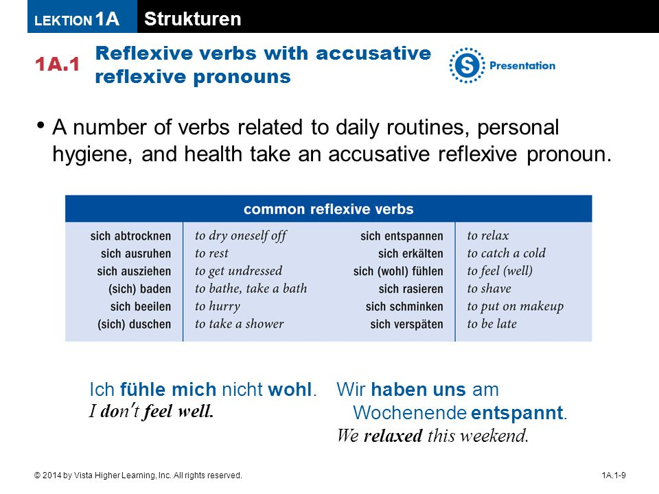 Strukturen 1A.1 LEKTION 1A 1A.1-9© 2014 by Vista Higher Learning, Inc. All rights reserved. Reflexive verbs with accusative reflexive pronouns A numbe