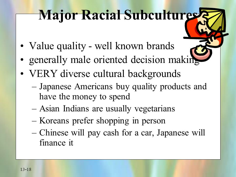 13-18 Major Racial Subcultures Value quality - well known brands generally male oriented decision making VERY diverse cultural backgrounds –Japanese A