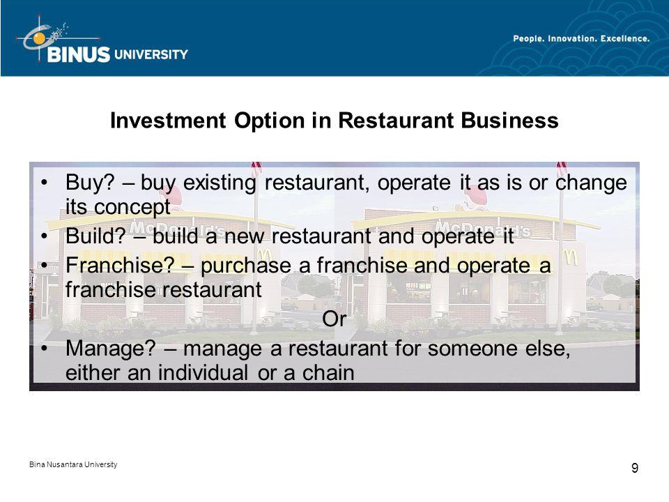Bina Nusantara University 9 Investment Option in Restaurant Business Buy.