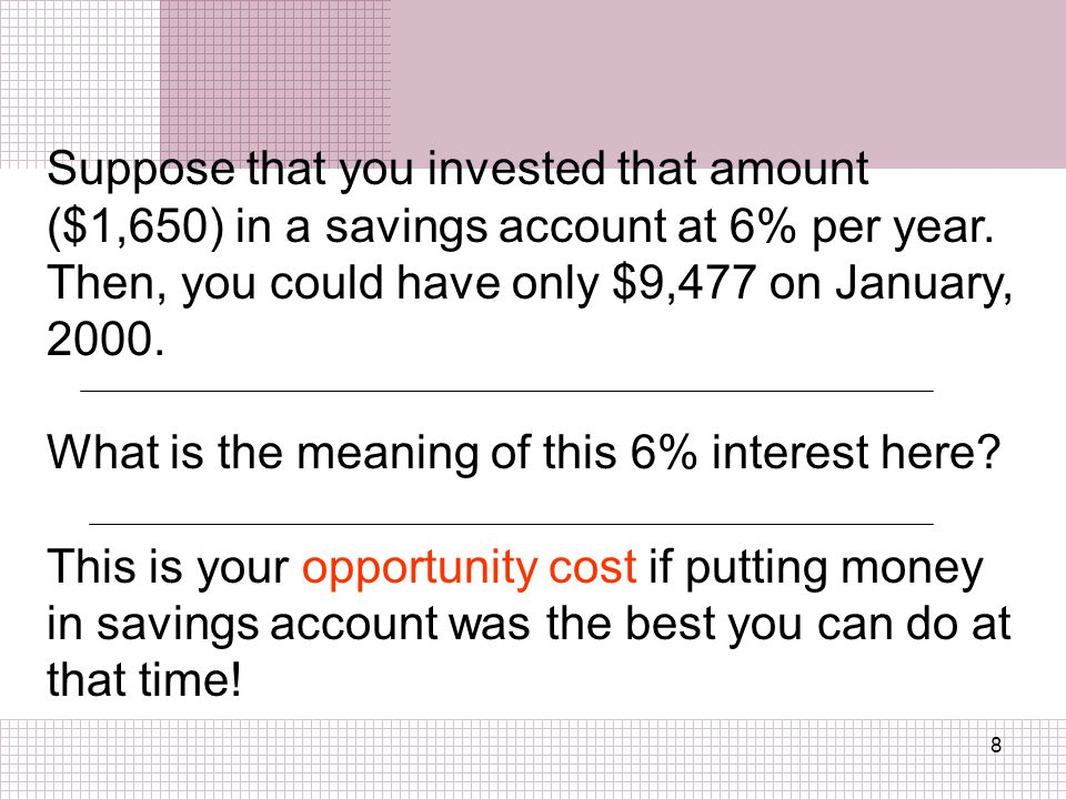 8 Suppose that you invested that amount ($1,650) in a savings account at 6% per year.