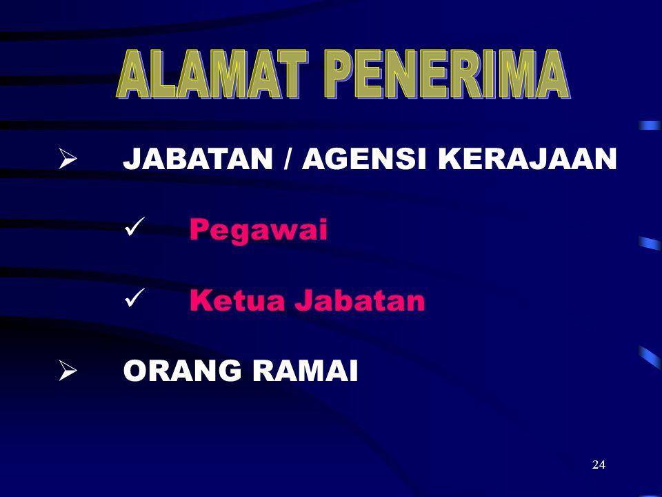 24  JABATAN / AGENSI KERAJAAN Pegawai Ketua Jabatan  ORANG RAMAI