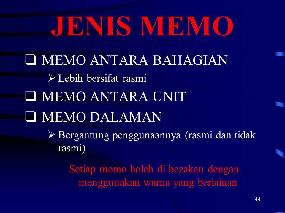 44 JENIS MEMO  MEMO ANTARA BAHAGIAN  Lebih bersifat rasmi  MEMO ANTARA UNIT  MEMO DALAMAN  Bergantung penggunaannya (rasmi dan tidak rasmi) Setia