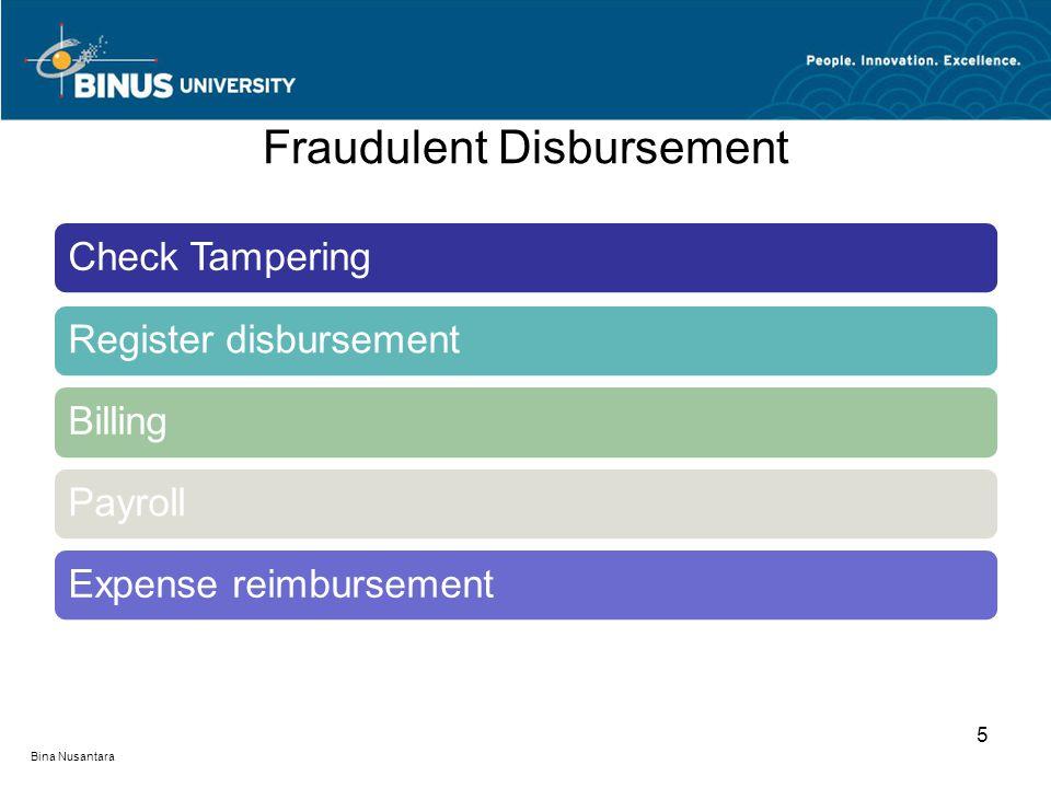 Fraudulent Disbursement Check TamperingRegister disbursement Billing Payroll Expense reimbursement 5 Bina Nusantara