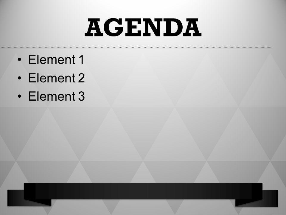 AGENDA Element 1 Element 2 Element 3