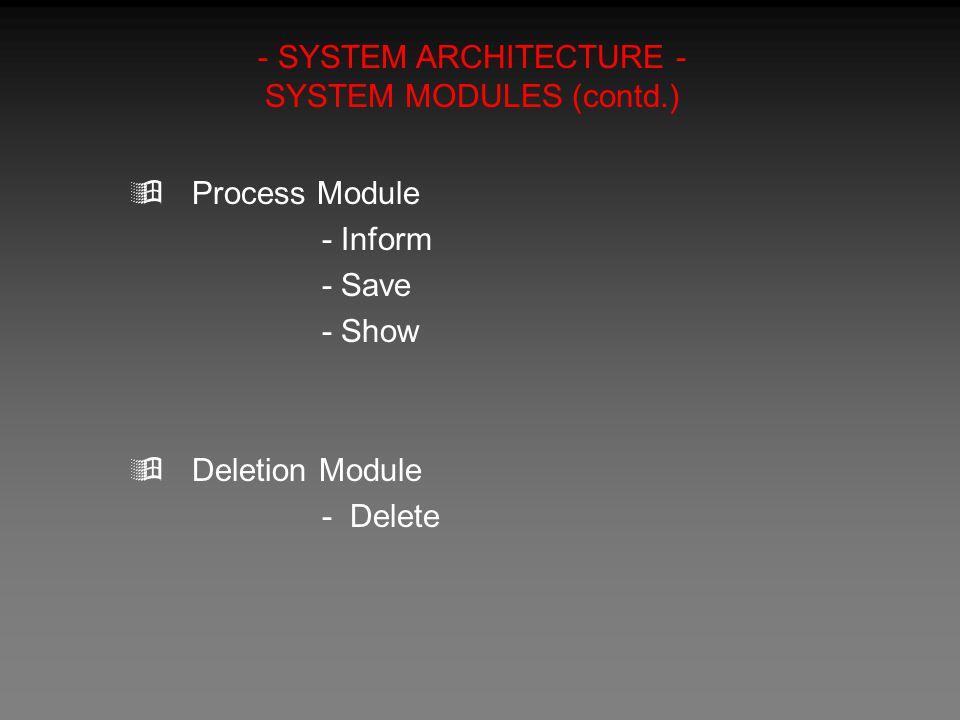 - SYSTEM ARCHITECTURE - SYSTEM MODULES (contd.)  Process Module - Inform - Save - Show  Deletion Module - Delete
