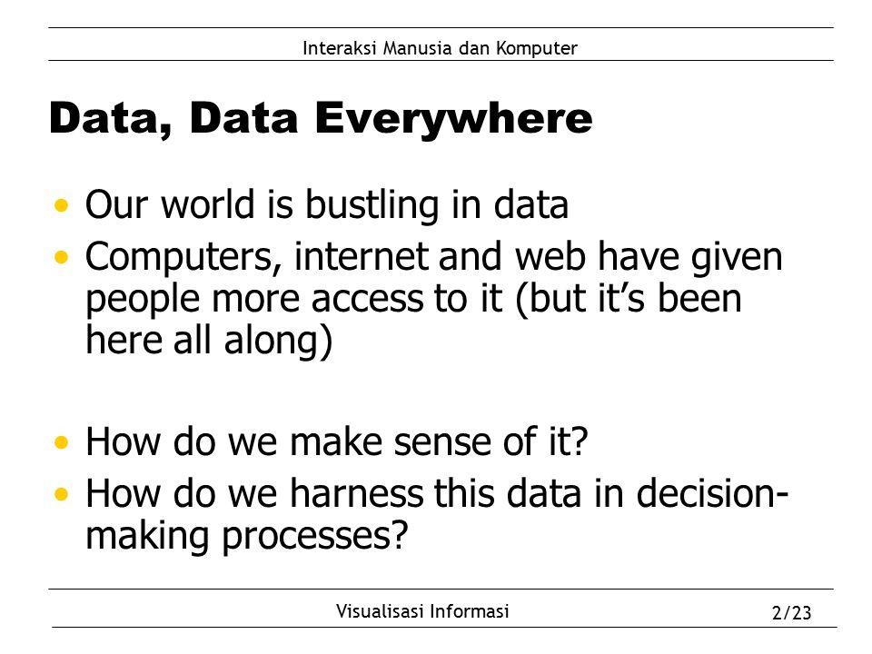 Interaksi Manusia dan Komputer Visualisasi Informasi 2/23 Data, Data Everywhere Our world is bustling in data Computers, internet and web have given p